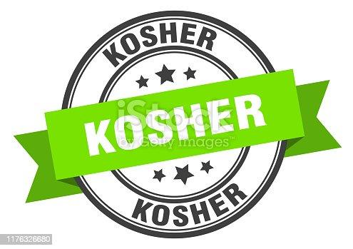 istock kosher label. kosher green band sign. kosher 1176326680