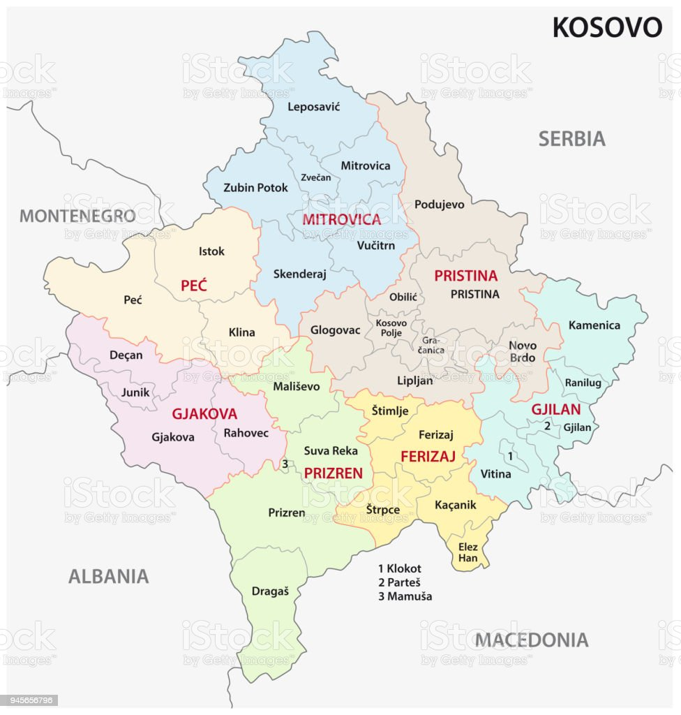 kosovo administrative and political map royalty free kosovo administrative and political map stock vector art