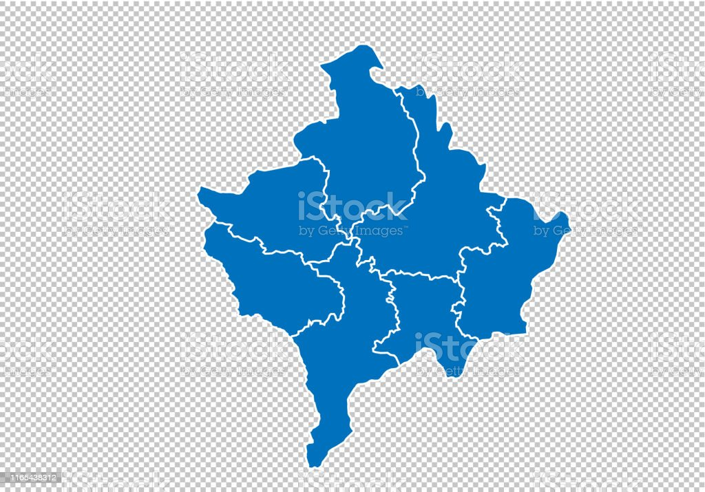 Kosovo Karte Europa.Kosovokarte Hohe Detaillierte Blaue Karte Mit