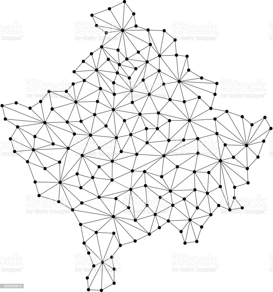 Kosovo Map Of Polygonal Mosaic Lines Network Rays And Dots Vector