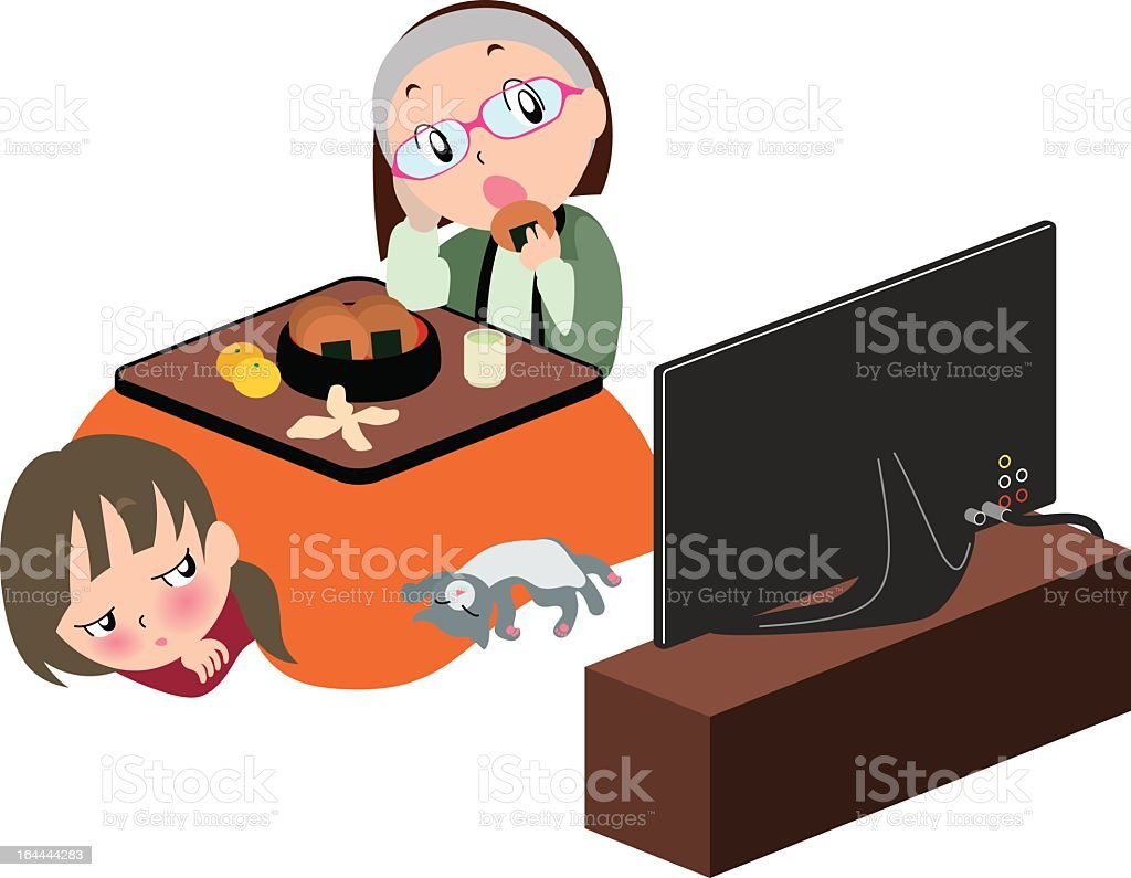 Kotatsu & TV royalty-free stock vector art