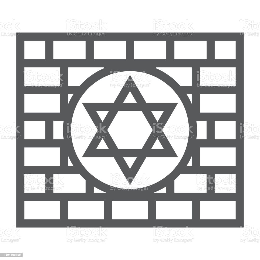 Kotel line icon, religion and judaism, jewish wall sign, vector...