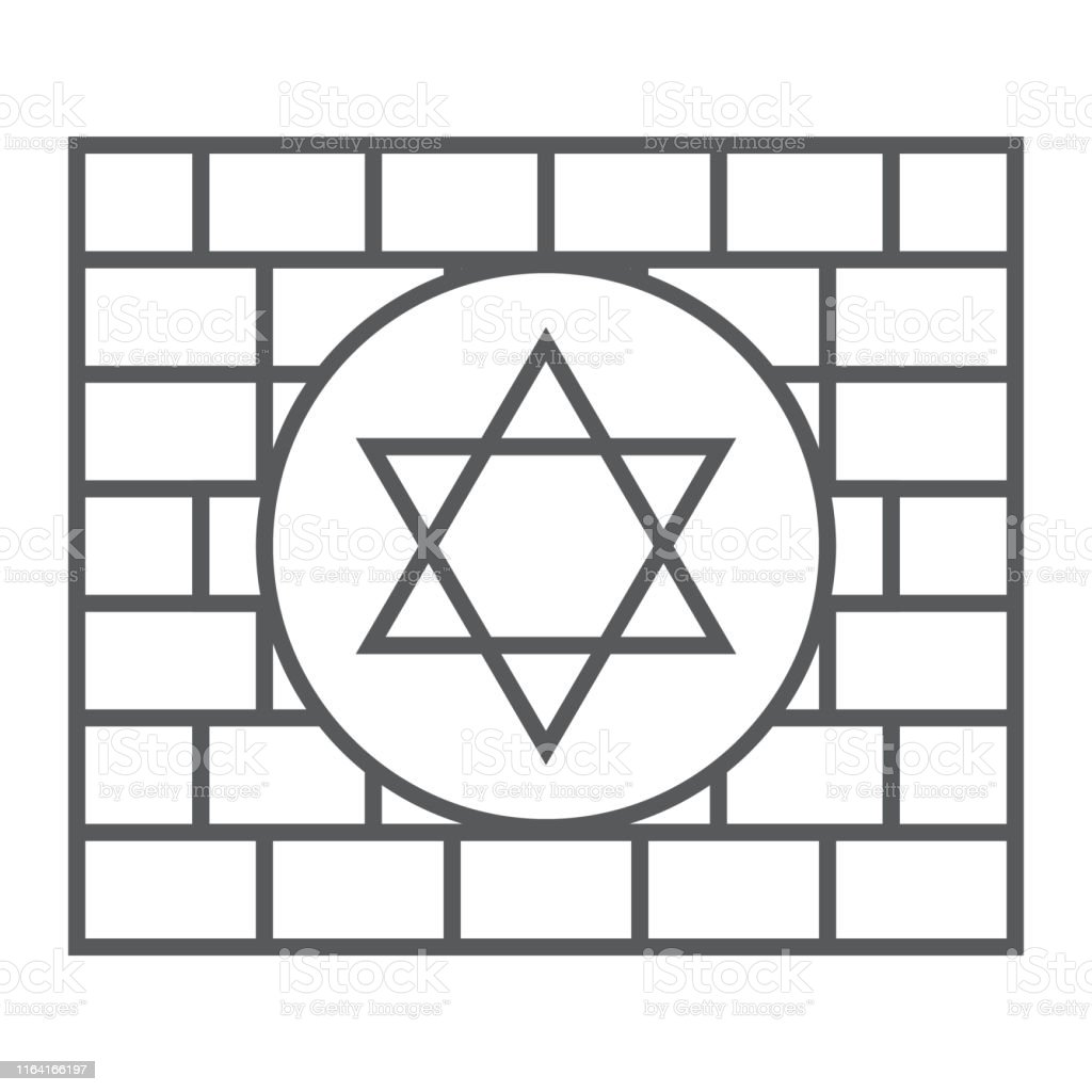 Kotel thin line icon, religion and judaism, jewish wall sign, vector...