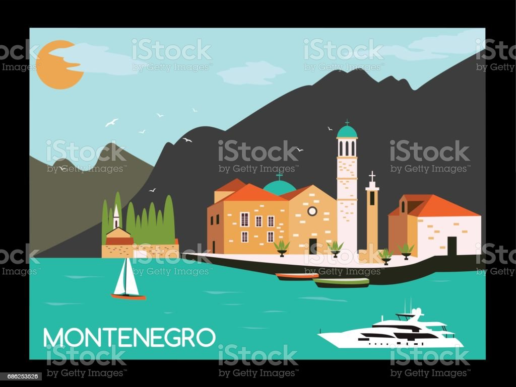 Kotor bay in Montenegro. vector art illustration