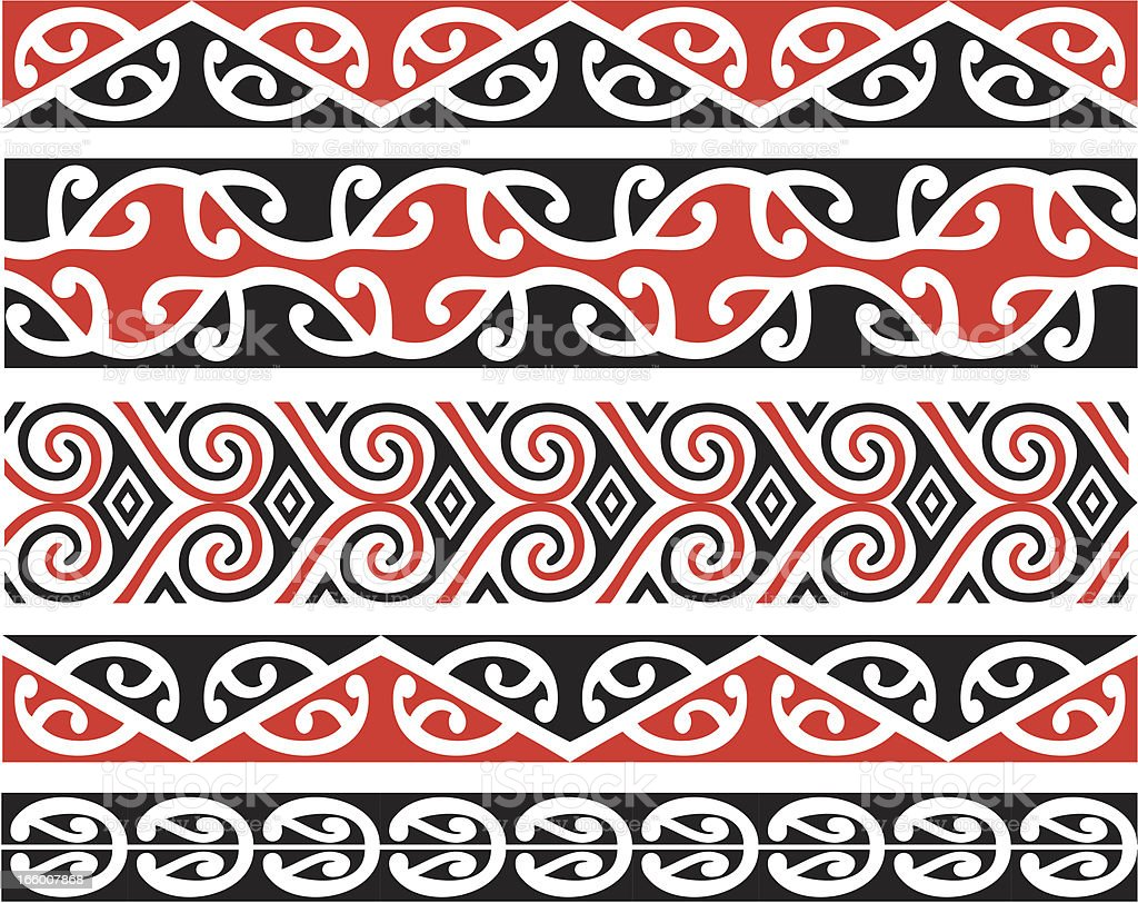 Kowhaiwhai diseños en Color - ilustración de arte vectorial