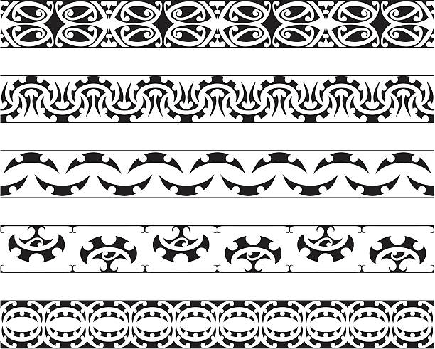 kowhaiwhai muster - maori tattoos stock-grafiken, -clipart, -cartoons und -symbole