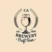 Kraft beer glass symbol. Old brewery icon. Lager cup retro sign. Hand sketched ale illustration. Vector vintage label or badge.