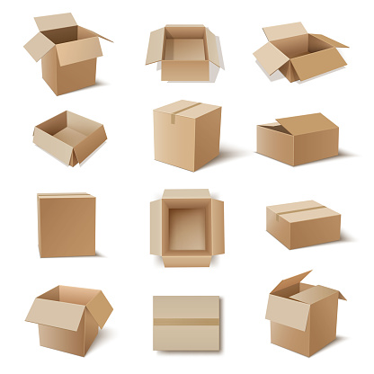 Kraft cardboard boxes for storage products, household goods various shaped flat, long, tall. Carton packaging, shipping containers open, closed. Top, side, isometric view. Realistic vector set.