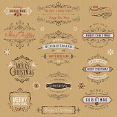 Typographic labels and badges set with Merry Christmas and Happy New Year wishes on kraft paper background. Vector illustration.