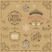 Kraft paper ornate Christmas typography design set. Include flourishes, ornaments, gift box, snowflakes and bird. Vector illustration.