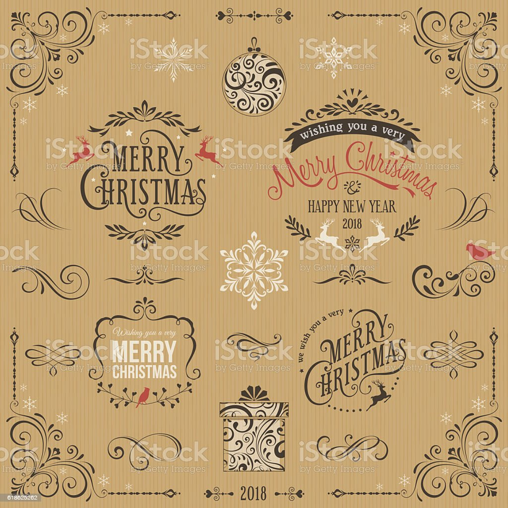 Kraft Ornate Christmas Typographic Set vector art illustration