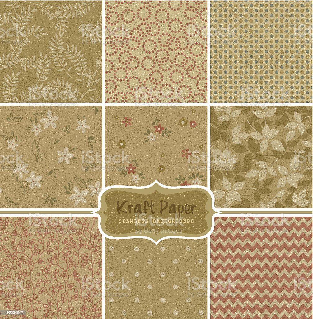 Kraft Paper Seamless Patterns vector art illustration