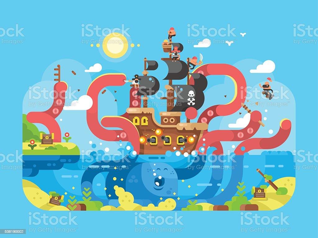 Kraken ship sinks design flat vector art illustration