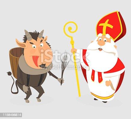 istock Krampus and Saint Nicholas - cartoon style isolated - vector illustration 1158496614