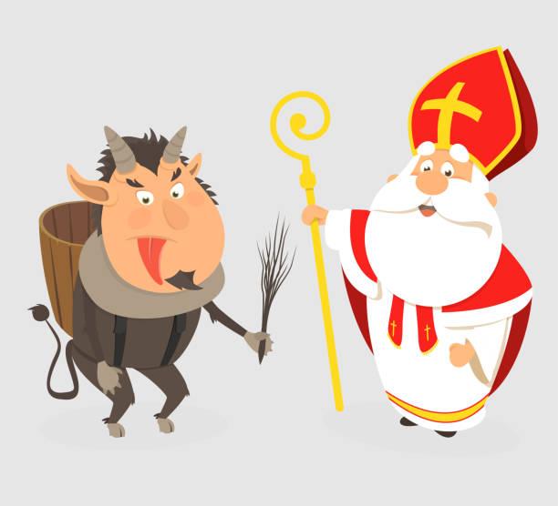illustrations, cliparts, dessins animés et icônes de krampus et saint nicholas - modèle de dessin animé isolé - illustration de vecteur - saint nicolas