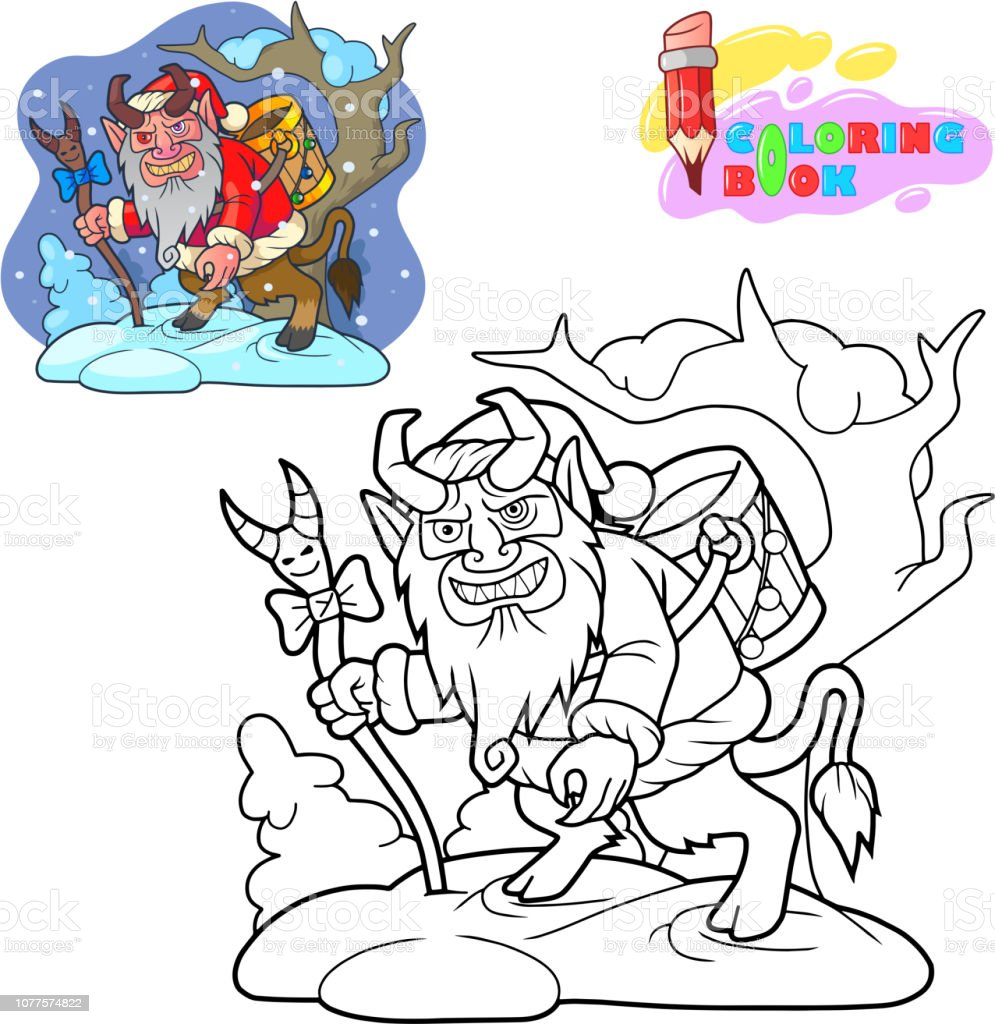 Krampus Is Looking For Children Coloring Book Funny Illustration