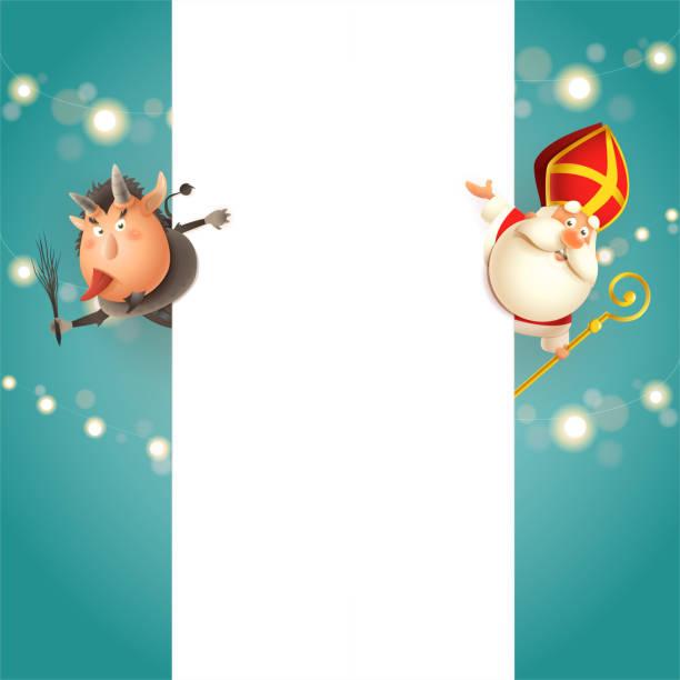 stockillustraties, clipart, cartoons en iconen met krampus aan de linkerkant en sint nicolaas aan de rechterkant van board-happy cute karakters vieren feestdagen-vector sjabloon - cadeau sinterklaas