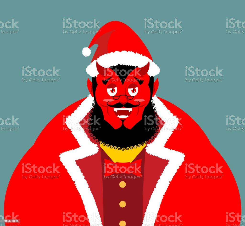 Krampus Satan Santa Claus Rote Dämon Mit Hörnern Weihnachtenmonster ...