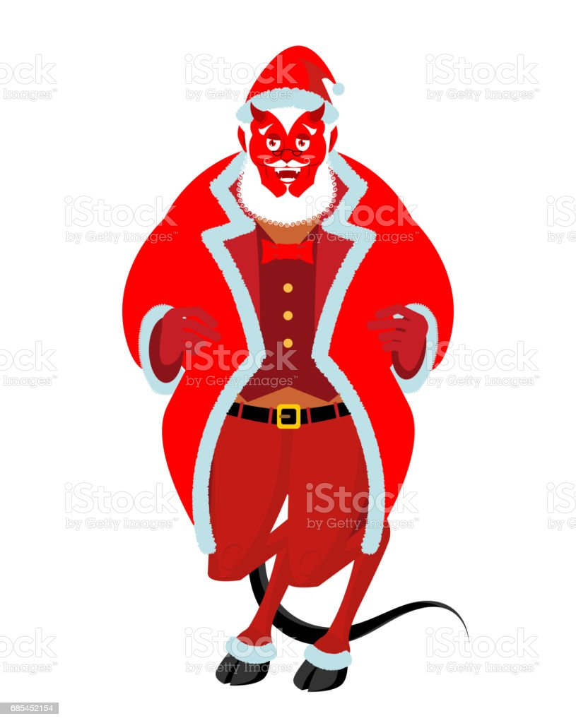 Krampus Satan Santa. Claus red demon with horns. Christmas monster for bad children and bullies. folklore evil. Devil with beard and mustache krampus satan santa claus red demon with horns christmas monster for bad children and bullies folklore evil devil with beard and mustache - arte vetorial de stock e mais imagens de bigode royalty-free