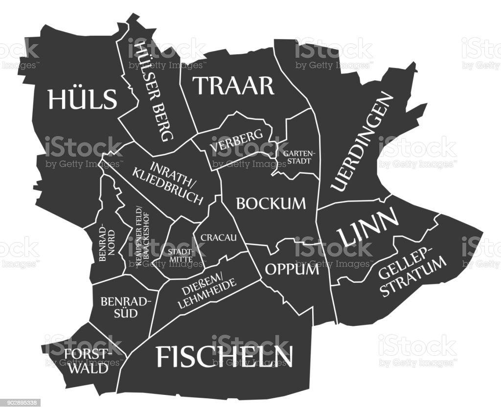 Krefeld Karte.Krefeldstadtplan Deutschland De Gekennzeichnet Schwarz Abbildung