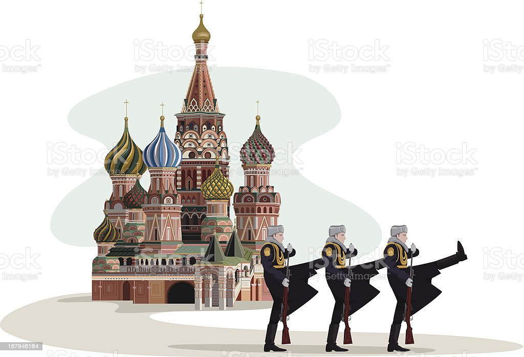 Kremlin and Russian Soldiers vector art illustration