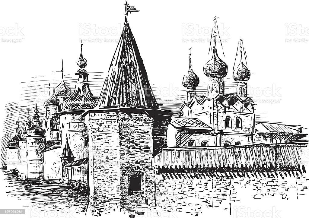Kremlin of Rostov the Great, Russia royalty-free stock vector art