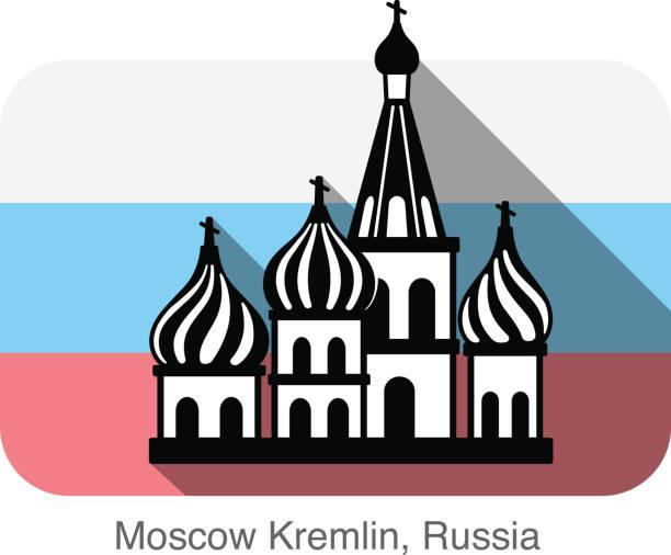 Kremlin silhouetta, famous landmark series Kremlin silhouetta, famous landmark series, background is Russian national flag kremlin stock illustrations