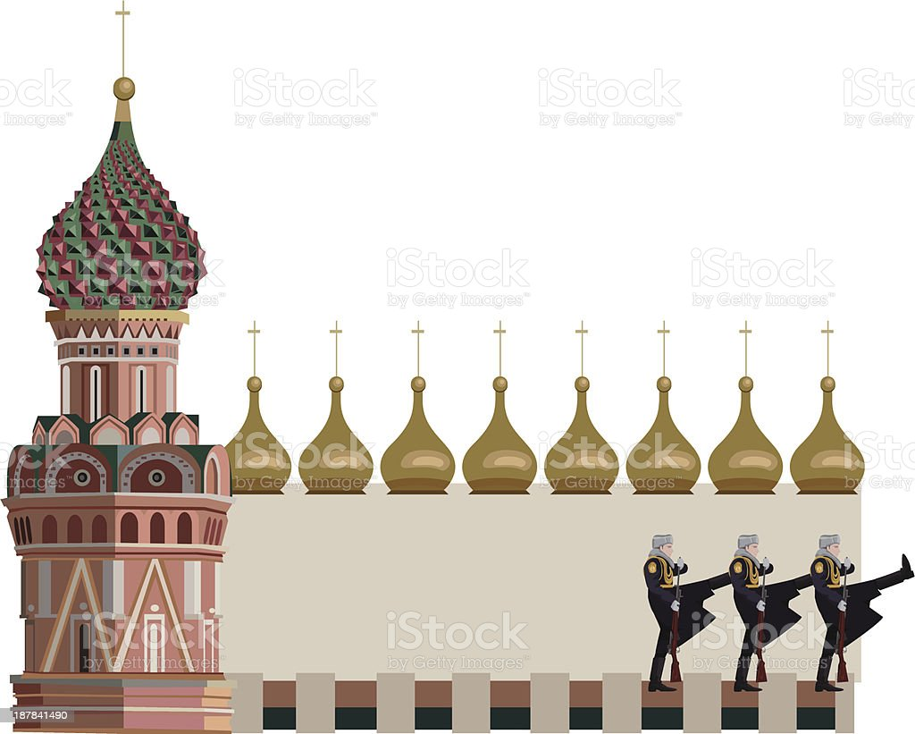 Kremlin Tower and Russian Soldiers vector art illustration