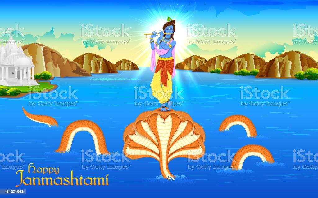 Krishna dancing on Kaliya Naag vector art illustration