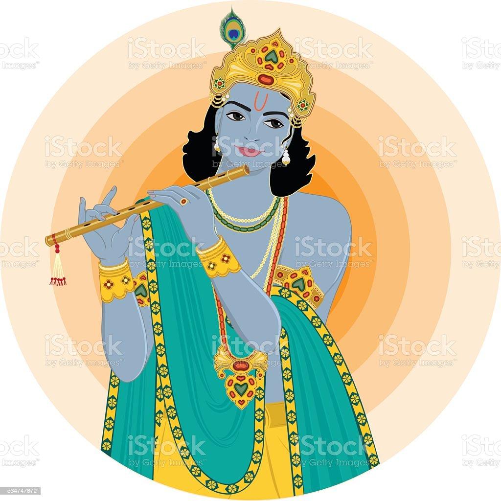 Krishna playing flute vector art illustration