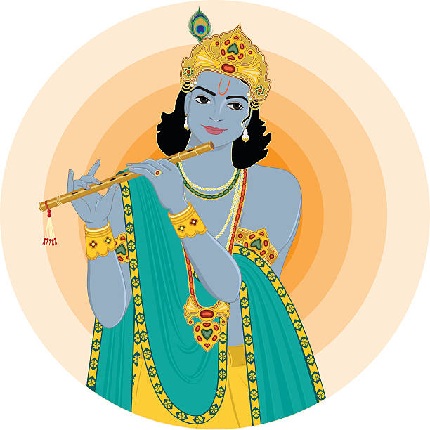 Krishna playing flute Vector illustration of Hindu Deity Lord Krishna playing flute. This illustration is created using Adobe Illustrator CS6 in RGB Color. There are no effects, transparencies, gradients and blends used. Objects are organised in groups and layers for easy editing. god stock illustrations