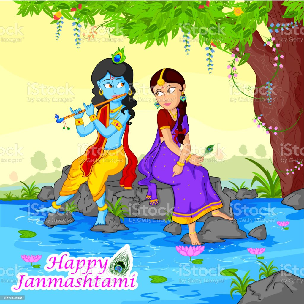Krishna Playing Flute With Radha On Janmashtami Background