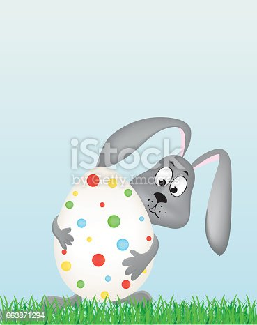 Easter bunny holding a large decorated egg. Rabbit on the grass. Greeting card for the holiday. Empty space for text. Vector