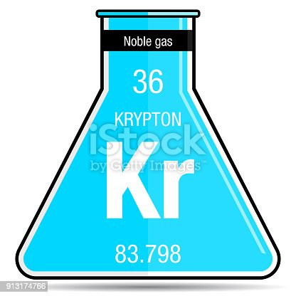 Krypton Symbol On Chemical Flask Element Number 36 Of The Periodic