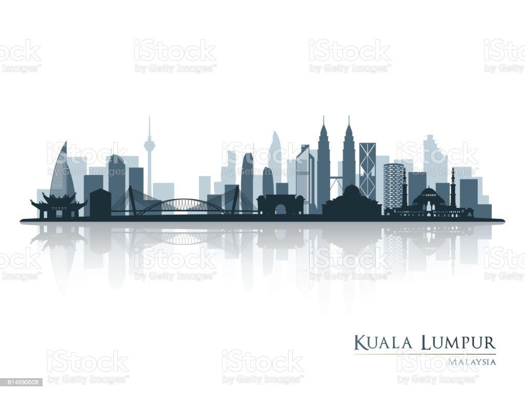 Kuala Lumpur, blue skyline silhouette with reflection. Vector illustration. vector art illustration