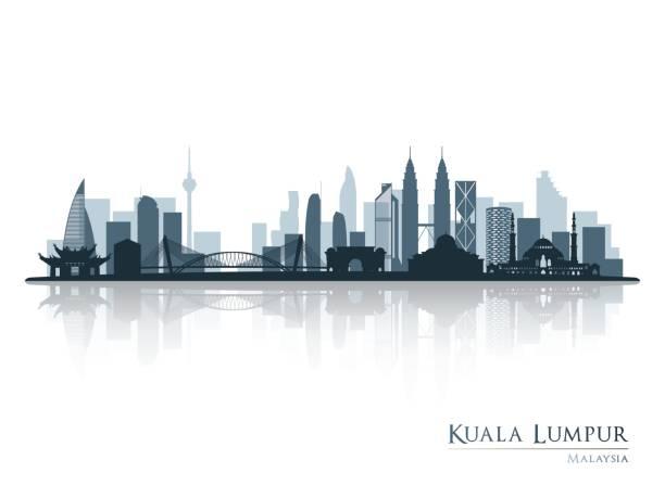 stockillustraties, clipart, cartoons en iconen met kuala lumpur, blauwe skyline van silhouet met reflectie. vectorillustratie. - maleisië