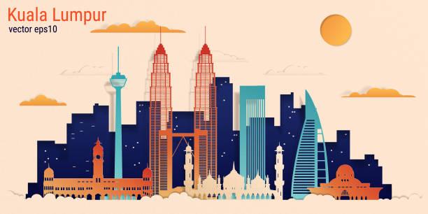 stockillustraties, clipart, cartoons en iconen met kuala lumpur stad kleurrijke papier knippen stijl, vector stock illustratie - maleisië