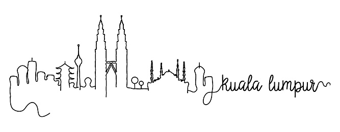 Kuala Lumpur City Skyline Doodle Sign