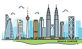 Kuala Lumpur, Malaysia city illustration. Abstract illustration in a line art, iconographic style.