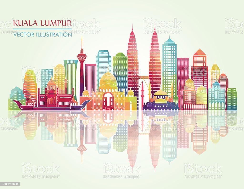 Kuala Lumpur detailed silhouette. Vector illustration vector art illustration