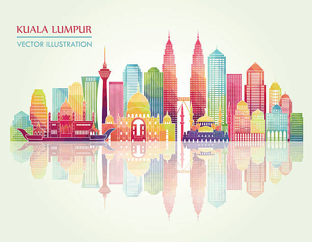 stockillustraties, clipart, cartoons en iconen met kuala lumpur detailed silhouette. vector illustration - maleisië