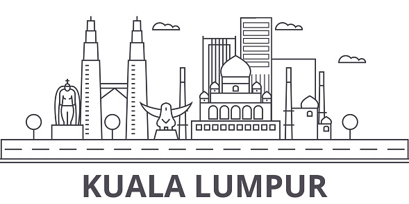 Kuala Lumpur Malaysia architecture line skyline illustration. Linear vector cityscape with famous landmarks, city sights, design icons. Landscape wtih editable strokes