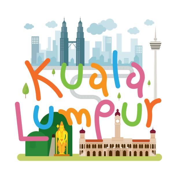 Kuala Lumpur, Malaysia Travel and Attraction Landmarks, Tourism and City Skyline kuala lumpur batu caves stock illustrations