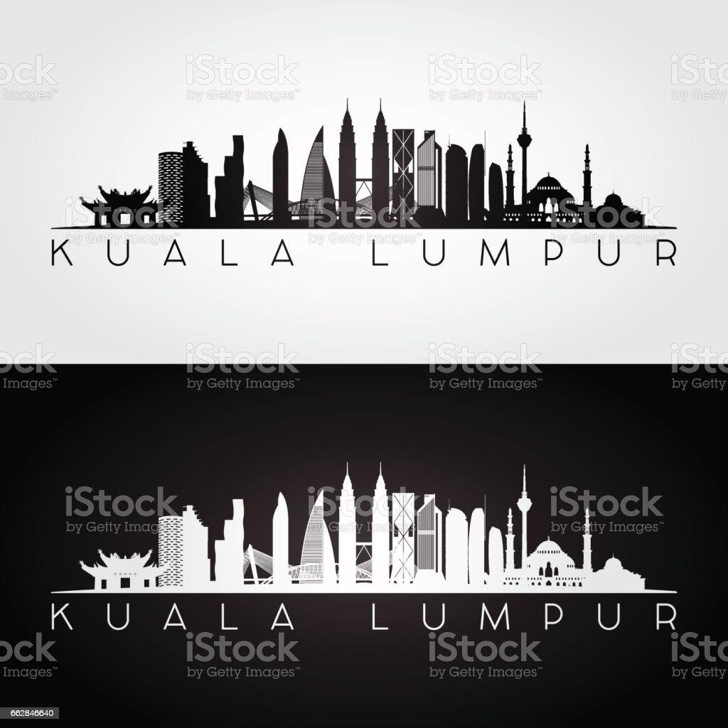Kuala Lumpur skyline and landmarks silhouette, black and white design, vector illustration. vector art illustration