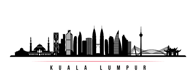 Kuala Lumpur skyline horizontal banner. Black and white silhouette of Kuala Lumpur, Malaysia. Vector template for your design.