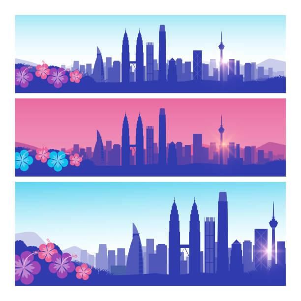 kuala lumpur skyline set vector art illustration
