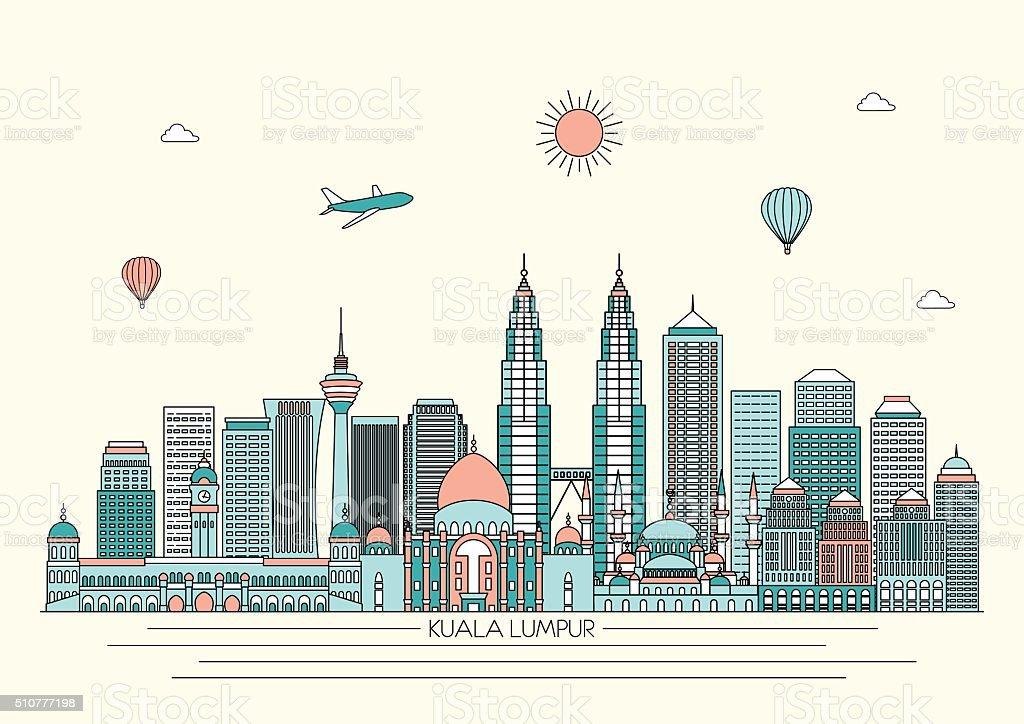 Kuala Lumpur skyline. Vector line illustration. Line style design vector art illustration