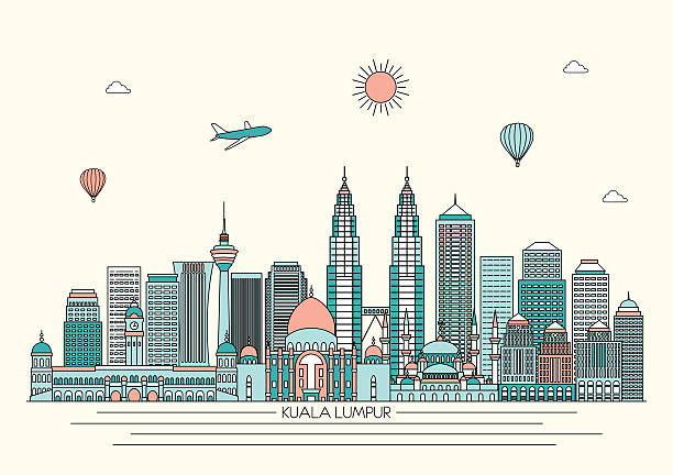 stockillustraties, clipart, cartoons en iconen met kuala lumpur skyline. vector line illustration. line style design - maleisië