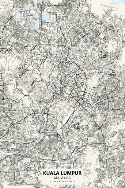 Kuala Lumpur Vector Map Poster Style Topographic / Road map of Kuala Lumpur, Malaysia. Original map data is open data via © OpenStreetMap contributors batu caves stock illustrations