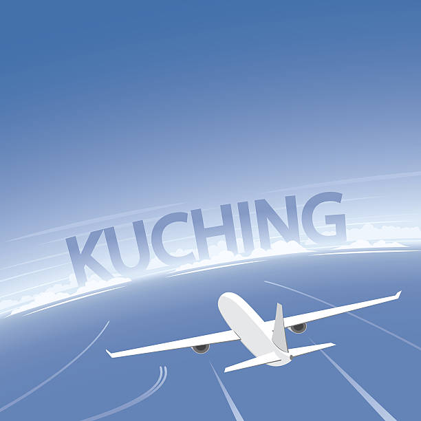 kuching flight destination - kuching stock-grafiken, -clipart, -cartoons und -symbole